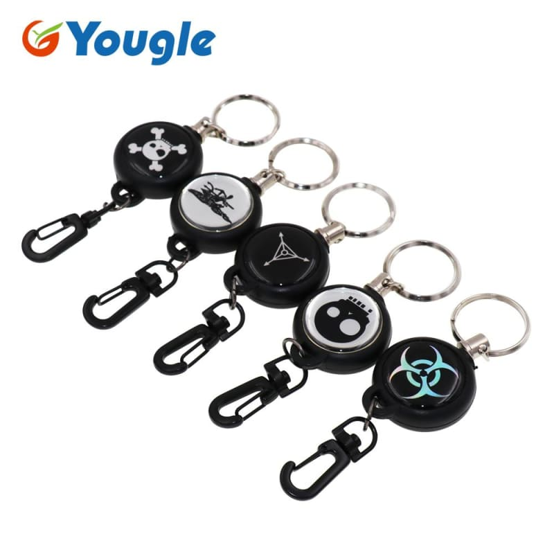 Anti-lost Extendable 60cm Metal Wire Retractable Reel Keyring ID Card Badge  Belt Clip Pull ... e6d48353d49d