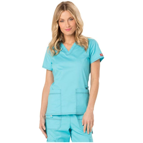 07c0ded61e9 Dickies Gen Flex DK800 Womens V-Neck Solid Scrub Top – Quality Scrubs For  Less