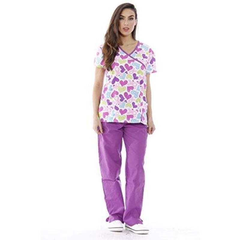 3faeebdb73a Just Love Nursing Scrubs Set for Women Heart Print Scrub Top (Mock Wrap)  With Purple Pants – Quality Scrubs For Less