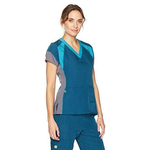 fb7b51d5679 WonderWink Women's Four-Stretch V-Neck Color Block Scrub Top -  qualityscrubsforless