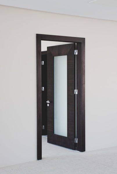 Wooden door with frosted glass panel