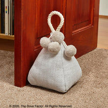 Load image into Gallery viewer, White Fabric Door Stop with pom-pom feature