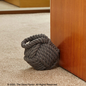 Nautical Robe Knot Fabric Door Stop - Grey
