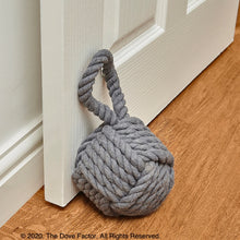 Load image into Gallery viewer, Nautical Robe Knot Fabric Door Stop - Grey