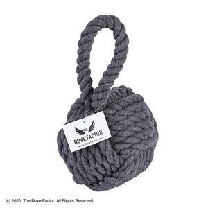 Nautical Rope Knot Fabric Door Stop - Grey