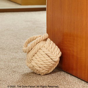 Nautical Rope Knot Fabric Door Stop - Off White