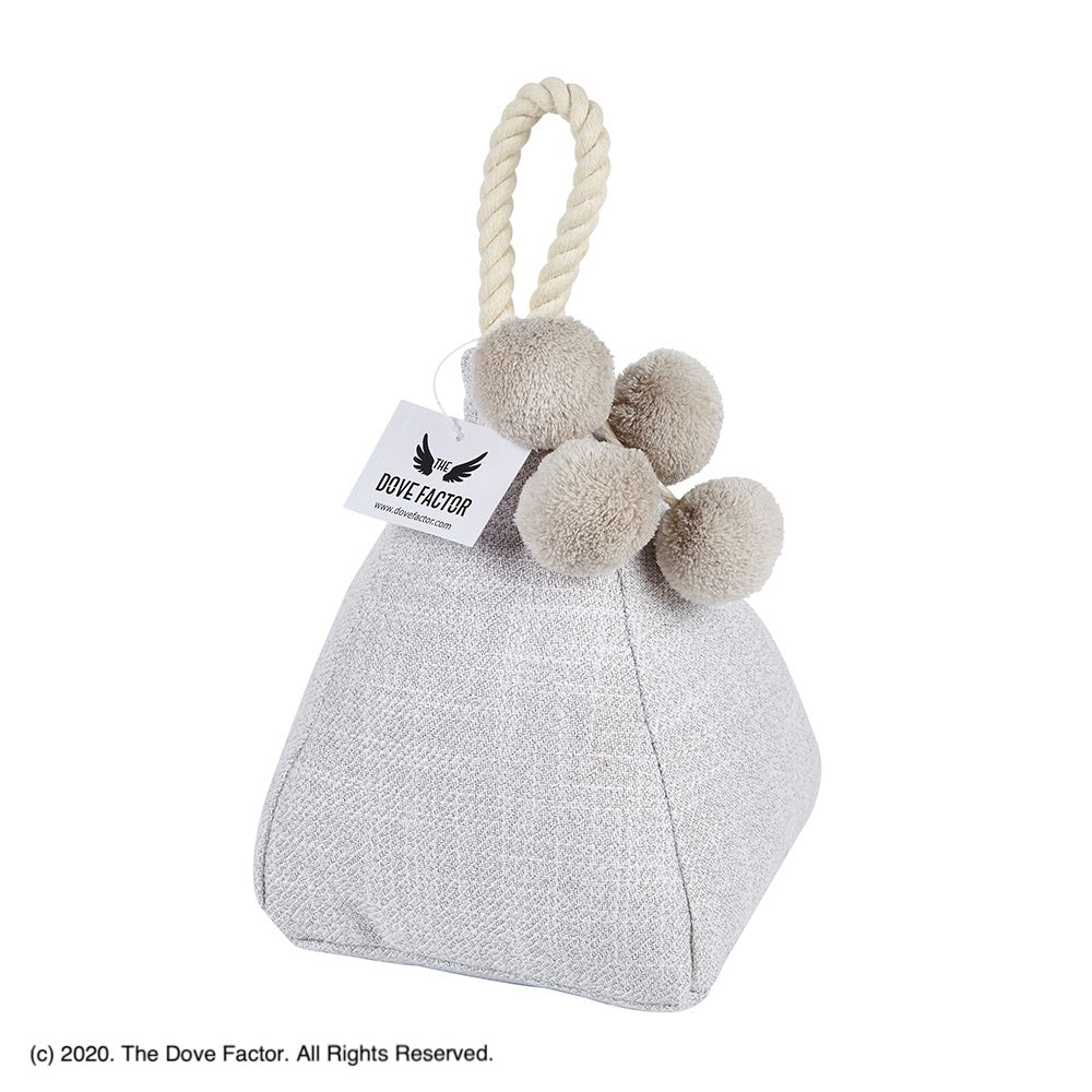 Pom-pom White Fabric Door Stop