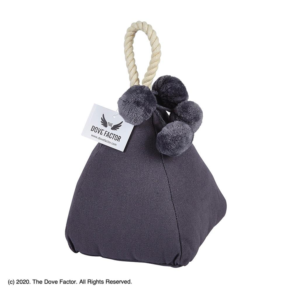 Pom-pom Grey Fabric Door Stop