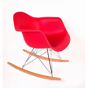 [DC311WRED] Adult sized Mid Century Rocking Chair with Arms and Ash wood sleighs