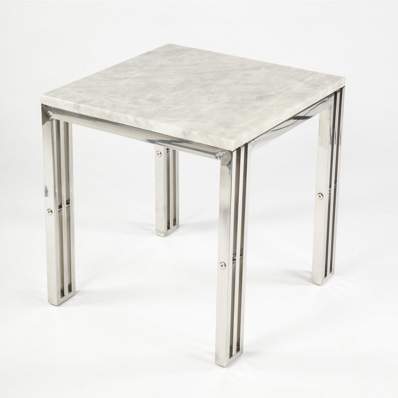 [FHT05SSMBL] End Table With Carrara Marble and Stainless Steel Frame