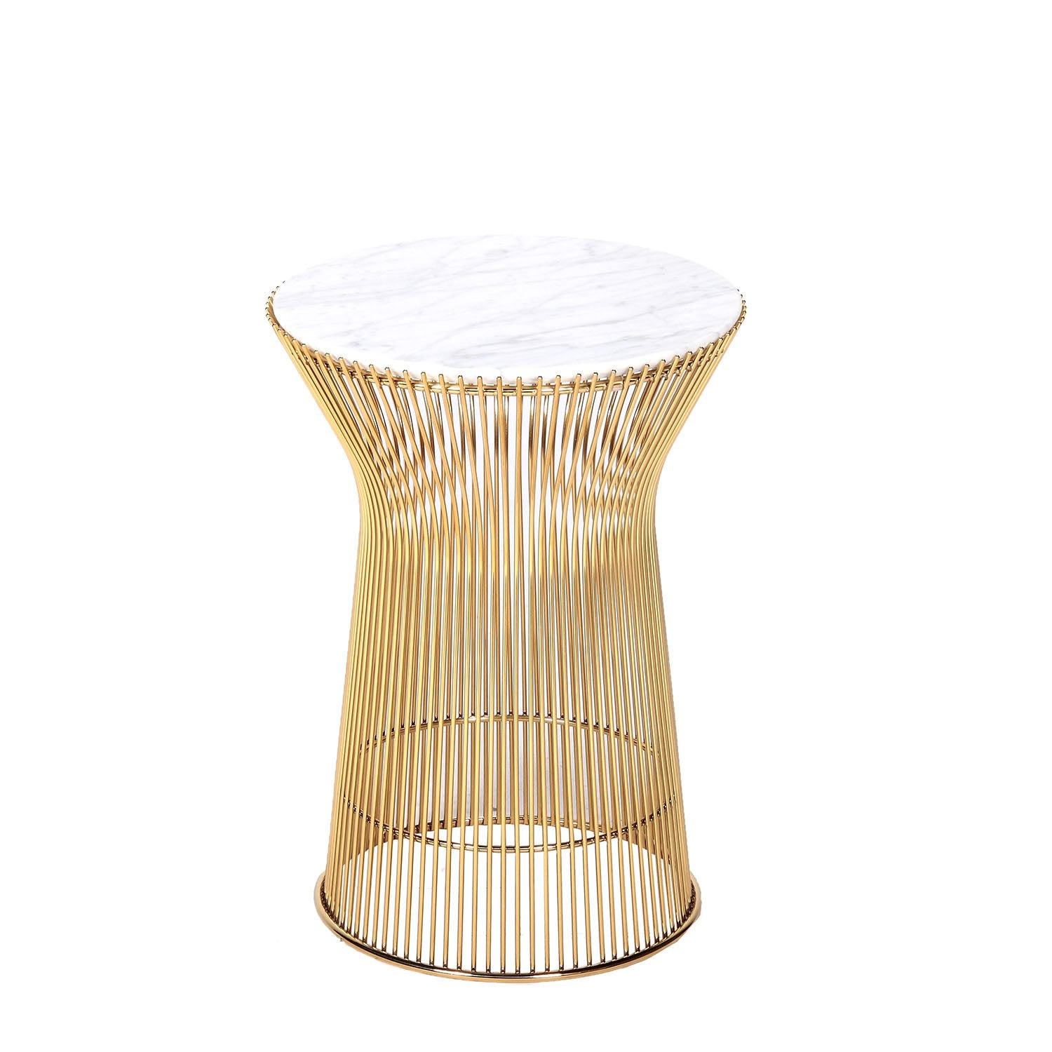 [FB919TMWHTGLD] The Fishburne Side Table with White Carrera style Marble Top