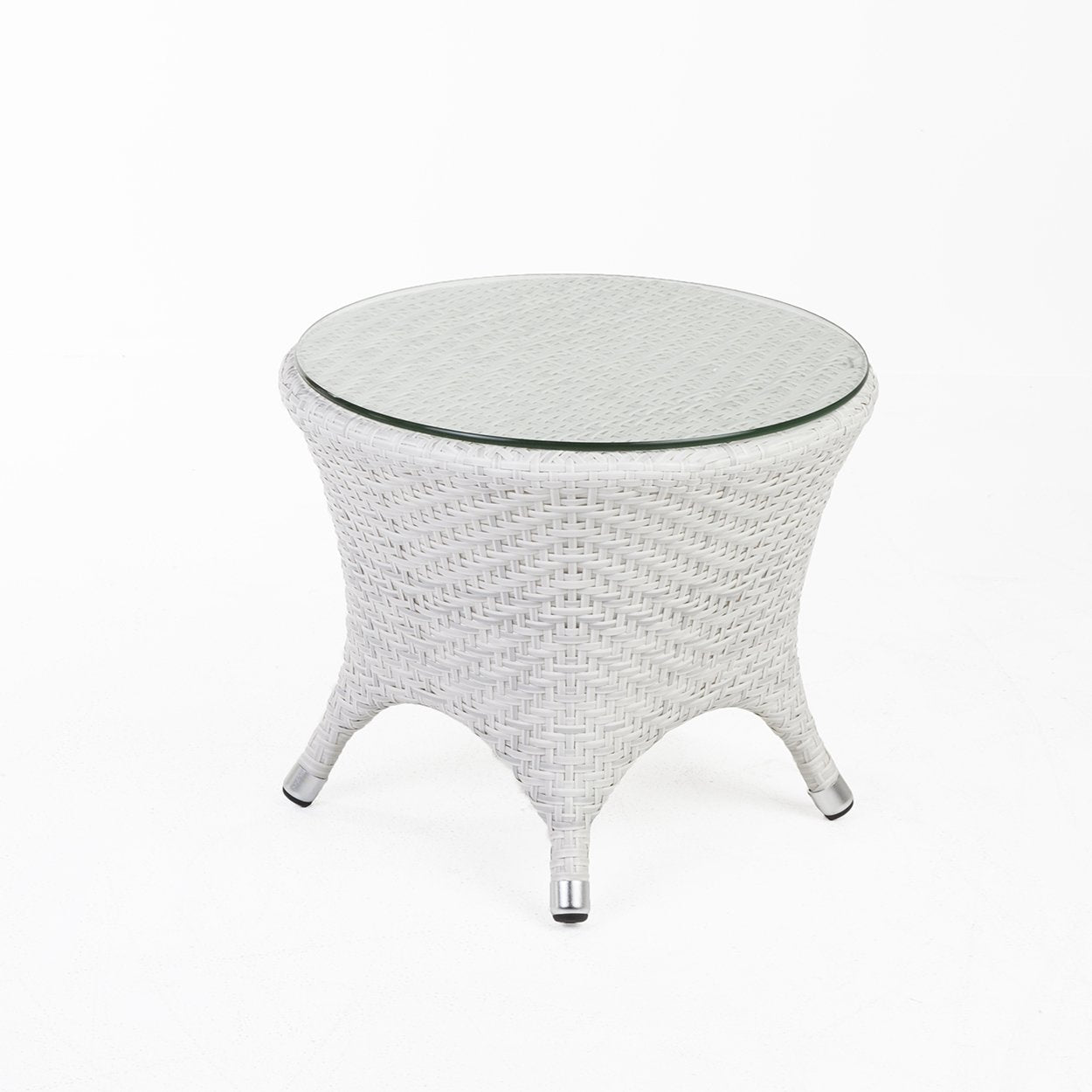 [FCT7664WHT] Danica outdoor END TABLE W/CLEAR GLASS TOP Sale