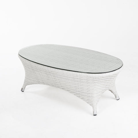 [FCT7663WHT] Danica outdoor COFFEE TABLE W/CLEAR GLASS TOP