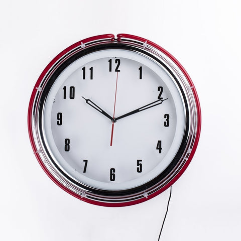 [1066WHTRED] Neon Diner Wall Clock SALE