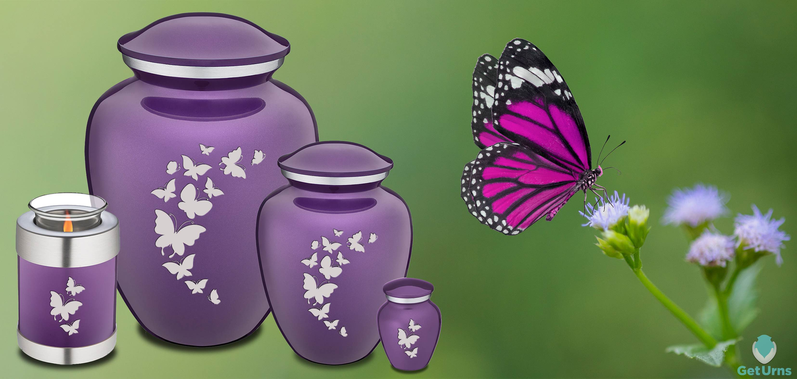GetUrns Embrace Purple Butterflies Cremation Urn for ashes