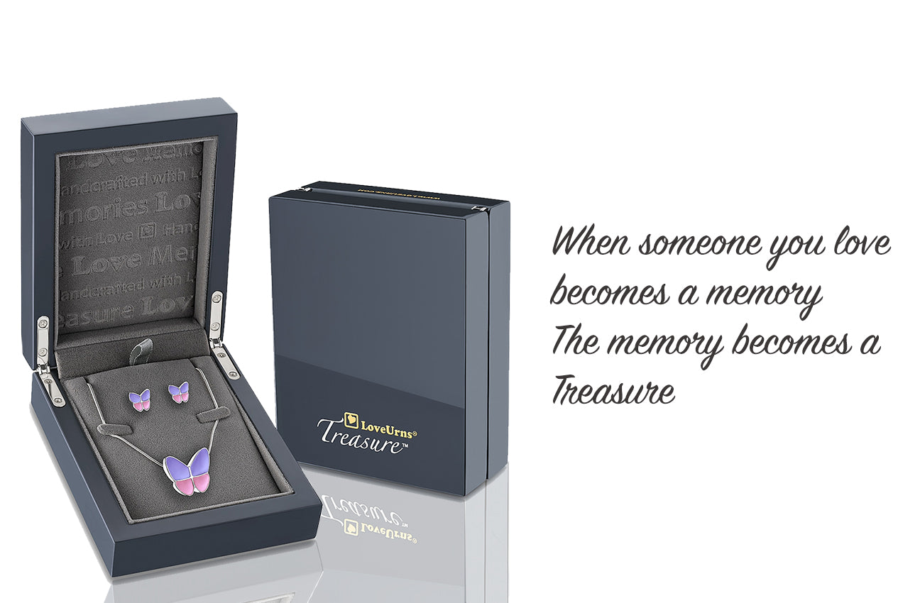 cremation jewelry for ashes inside presentation box