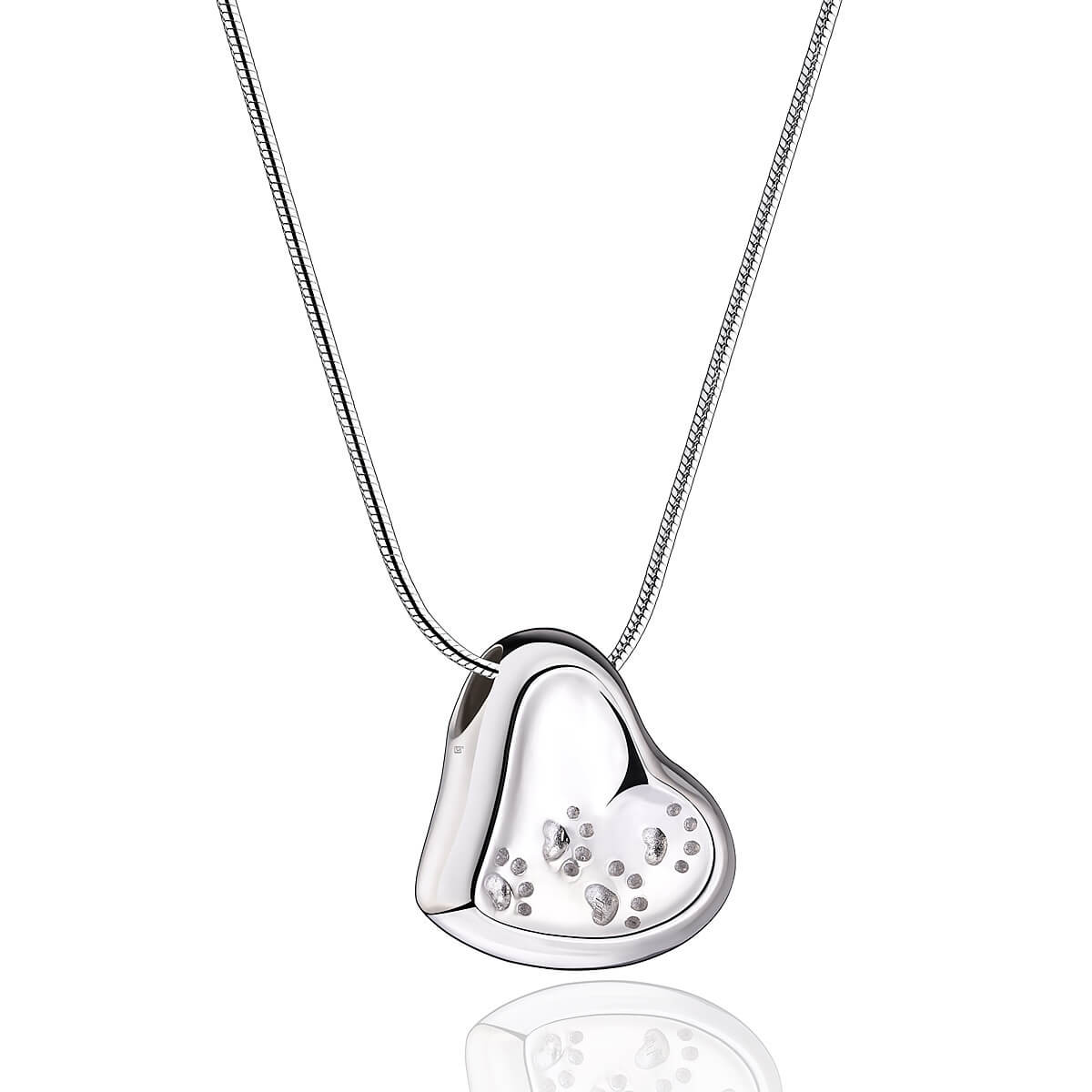 Sterling Silver Leaning Heart with Paw Prints Cremation Pendant