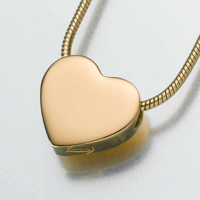 Small Gold Vermeil Slide Heart Pendant Cremation Jewelry