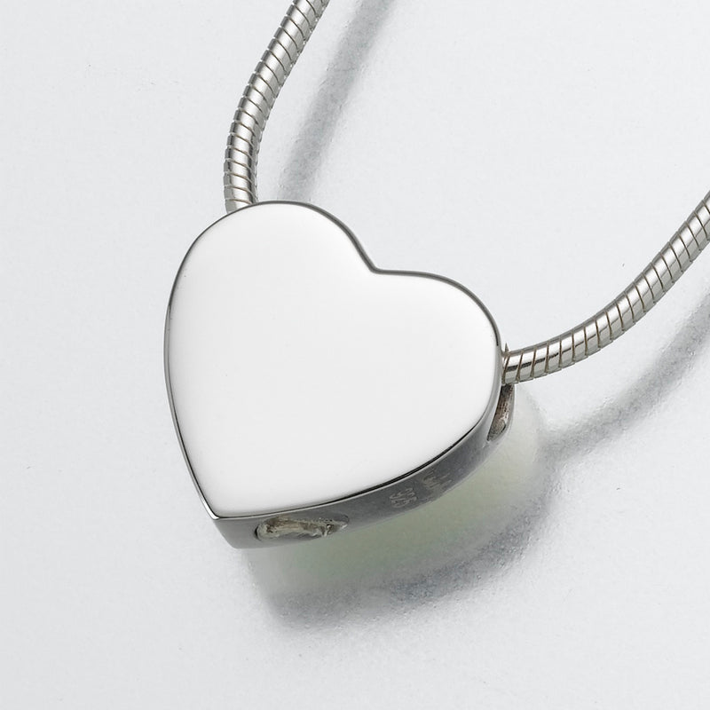 Small  Sterling Silver Slide Heart Pendant Cremation Jewelry
