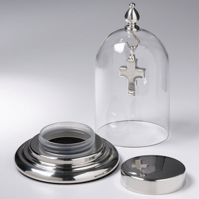 Pewter Glass / Dome with container in Base Cremation Jewelry