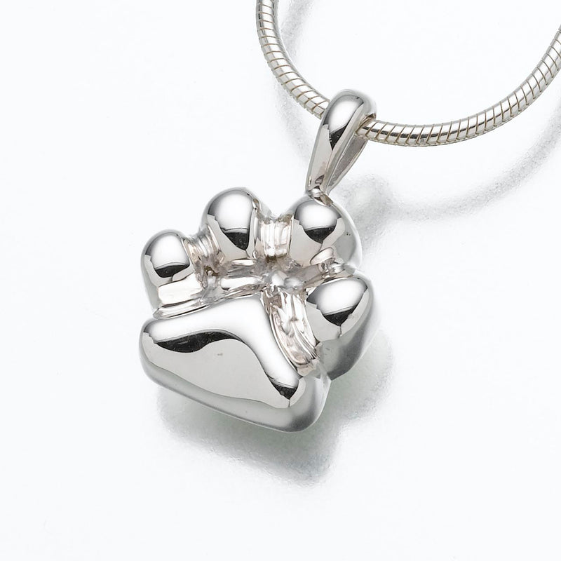 Sterling Silver Paw Pendant Cremation Jewelry