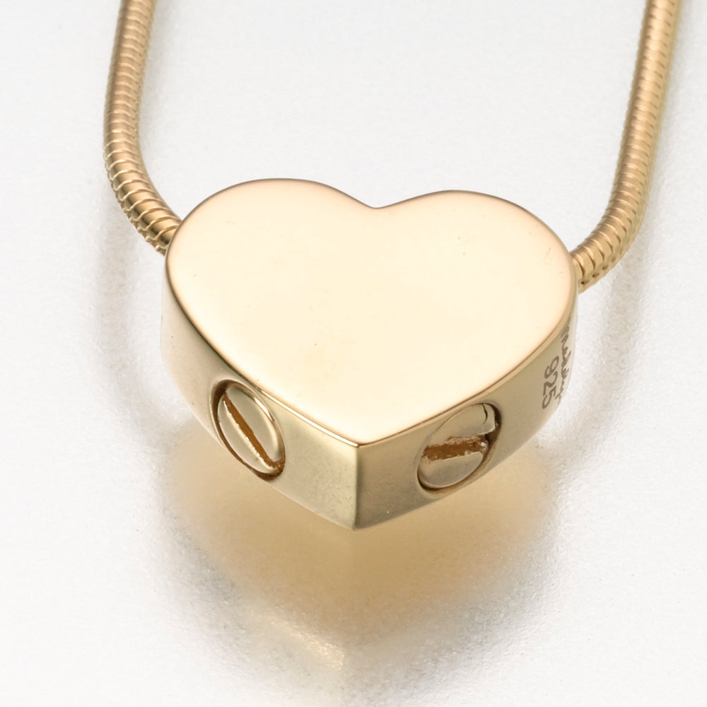 Gold Vermeil Double Chamber Slide Heart Pendant Cremation Jewelry