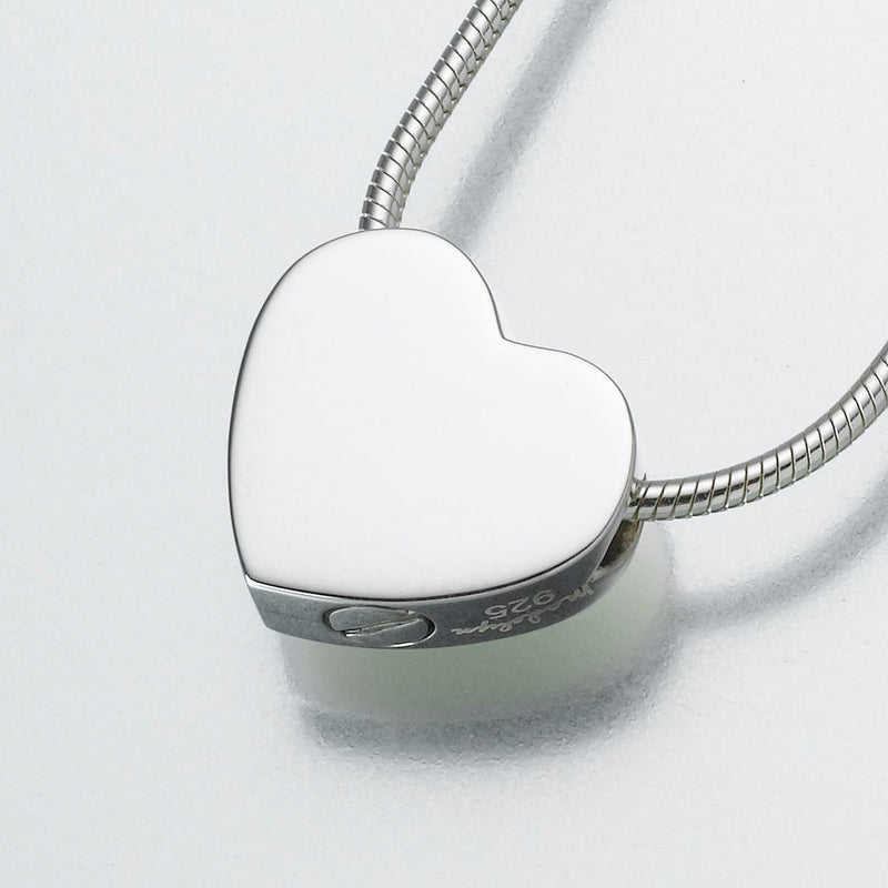 Sterling Silver Double Chamber Heart Pendant Cremation Jewelry