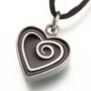 Pewter Heart Pendant w/ Black Enamel Spiral Cremation Jewelry