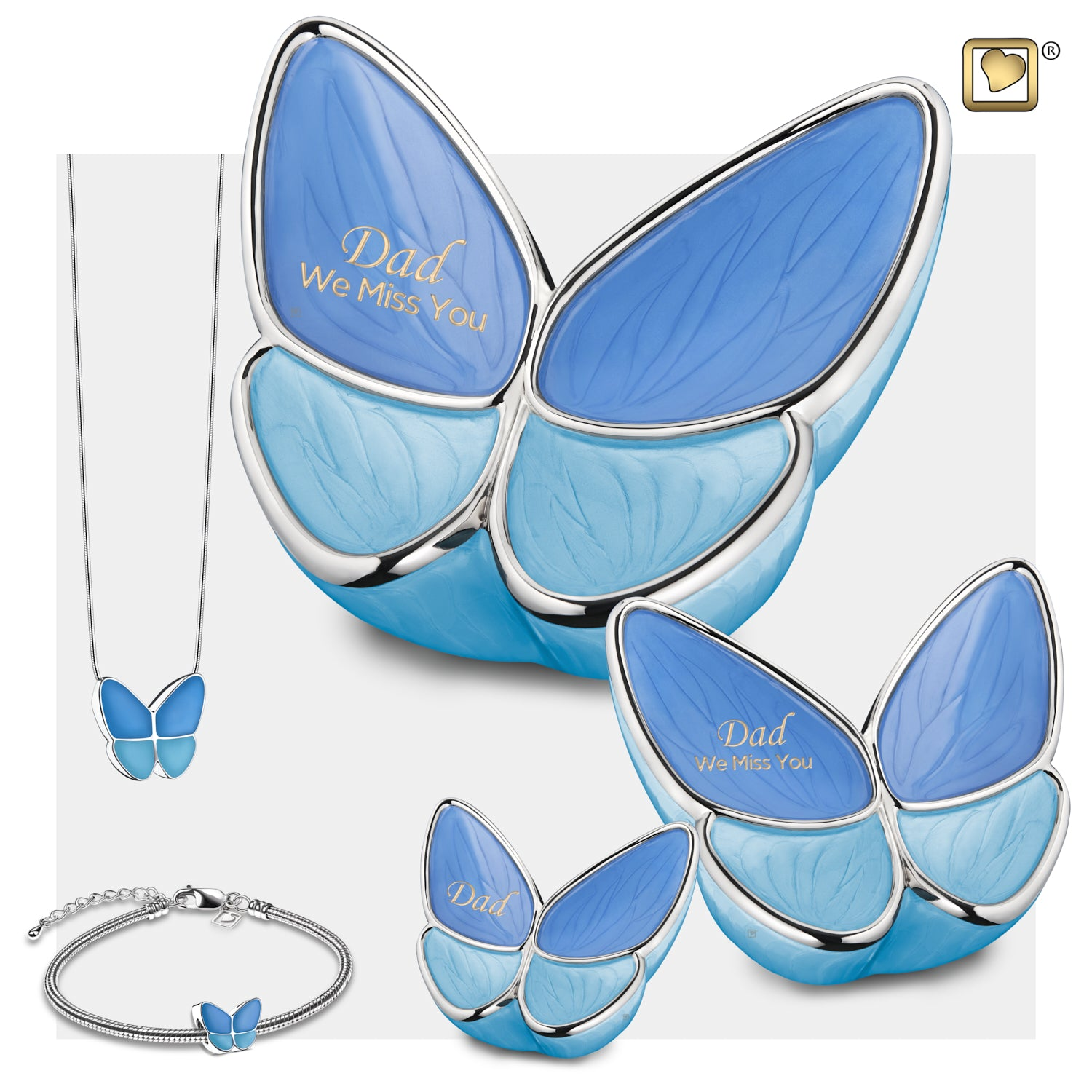 Medium Wings of Hope Butterfly Blue Cremation Urn