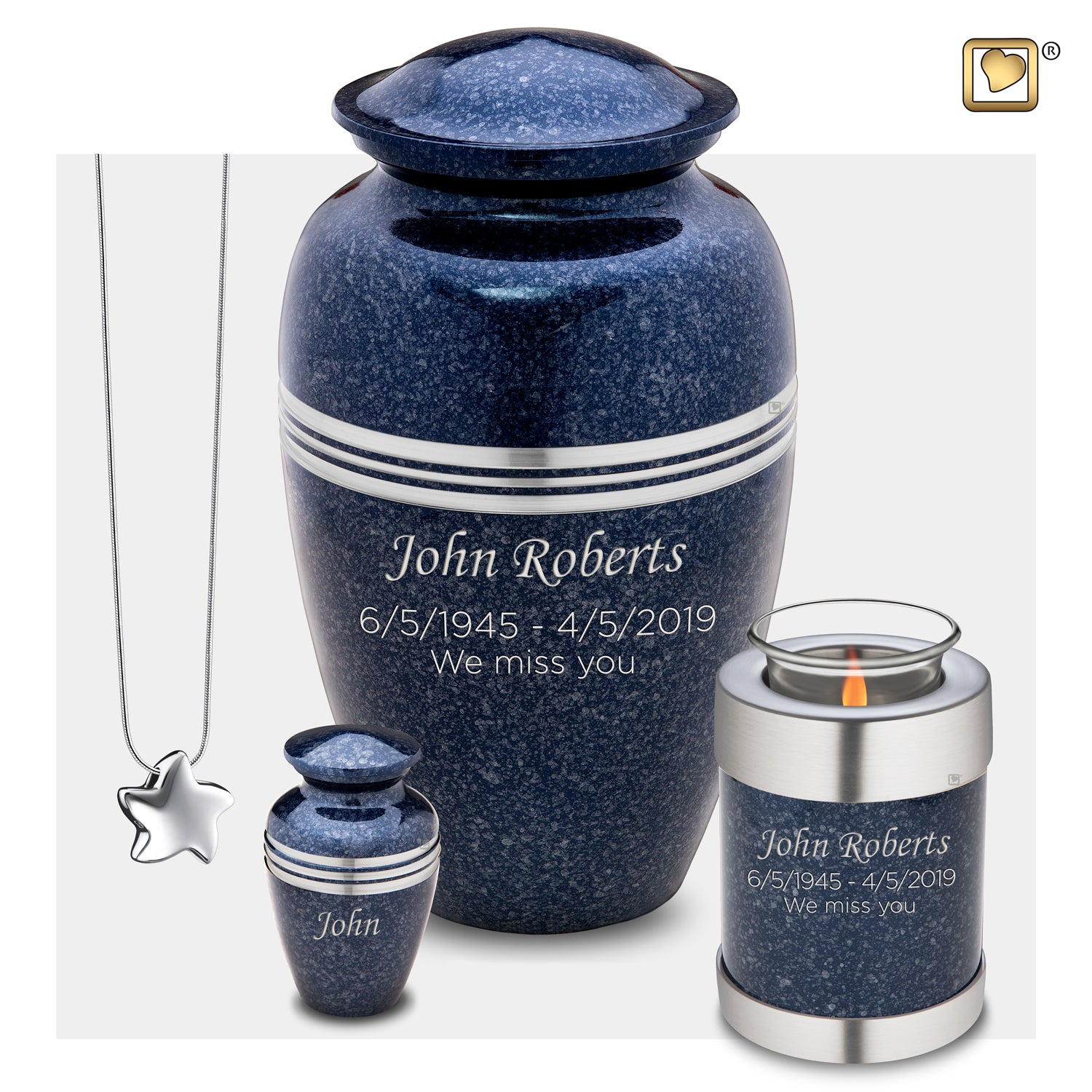 Tealight Speckled Indigo Cremation Urn