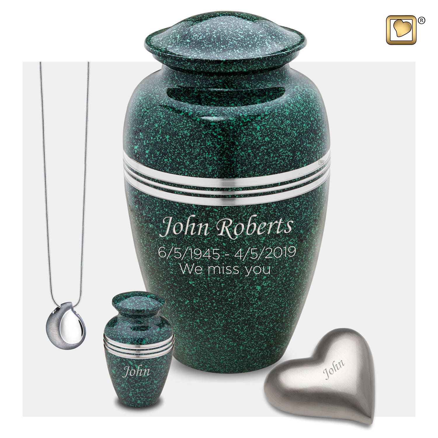 Adult Speckled Emerald Cremation Urn