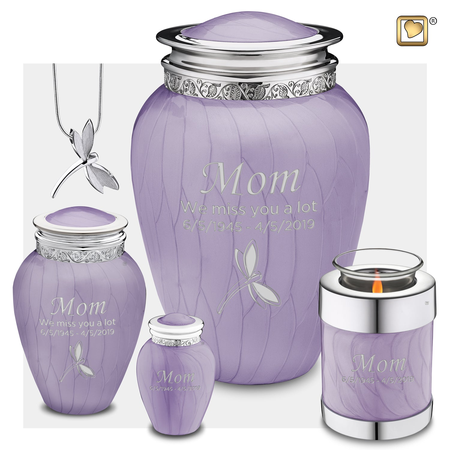 Medium Blessing Pearl Lavender Silver Cremation Urn