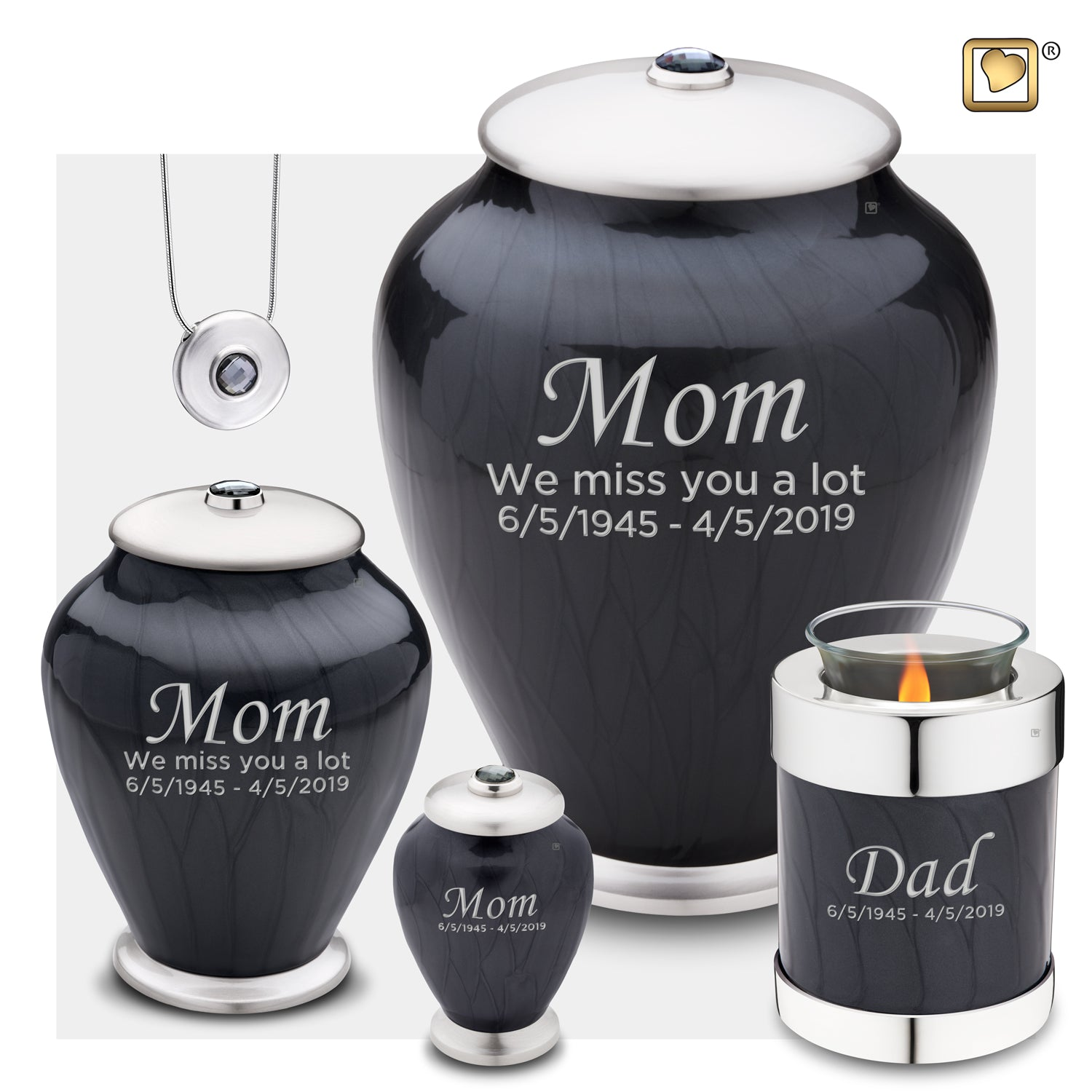 Adult Tall Simplicity Midnight Pearl Cremation Urn