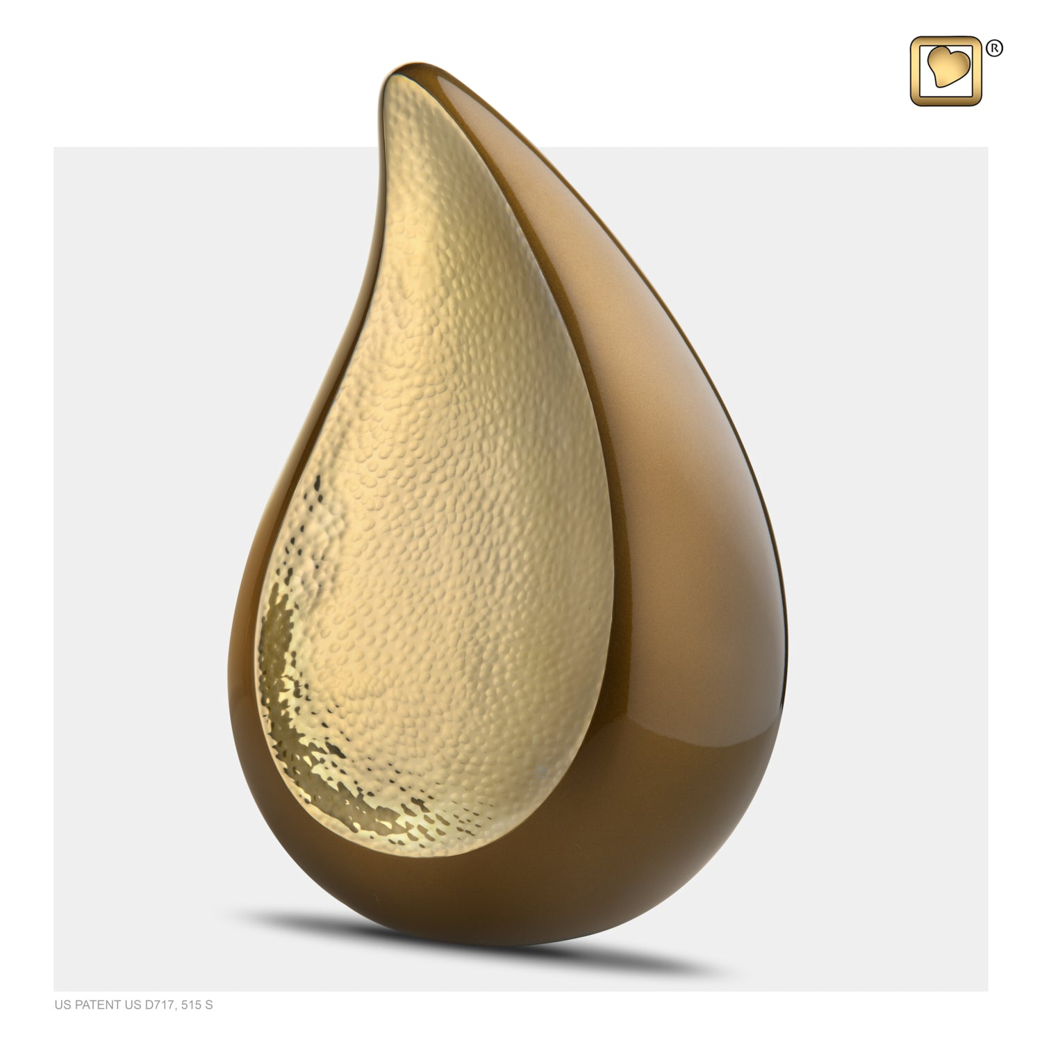 Adult TearDrop Hammered Gold Bronze Cremation Urn
