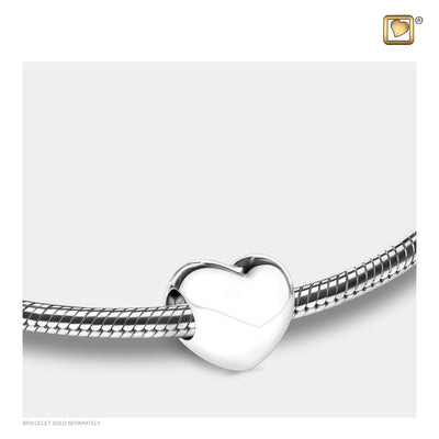 Sterling Silver Loveheart Silver Polished Cremation Jewelry for Ashes - Bead