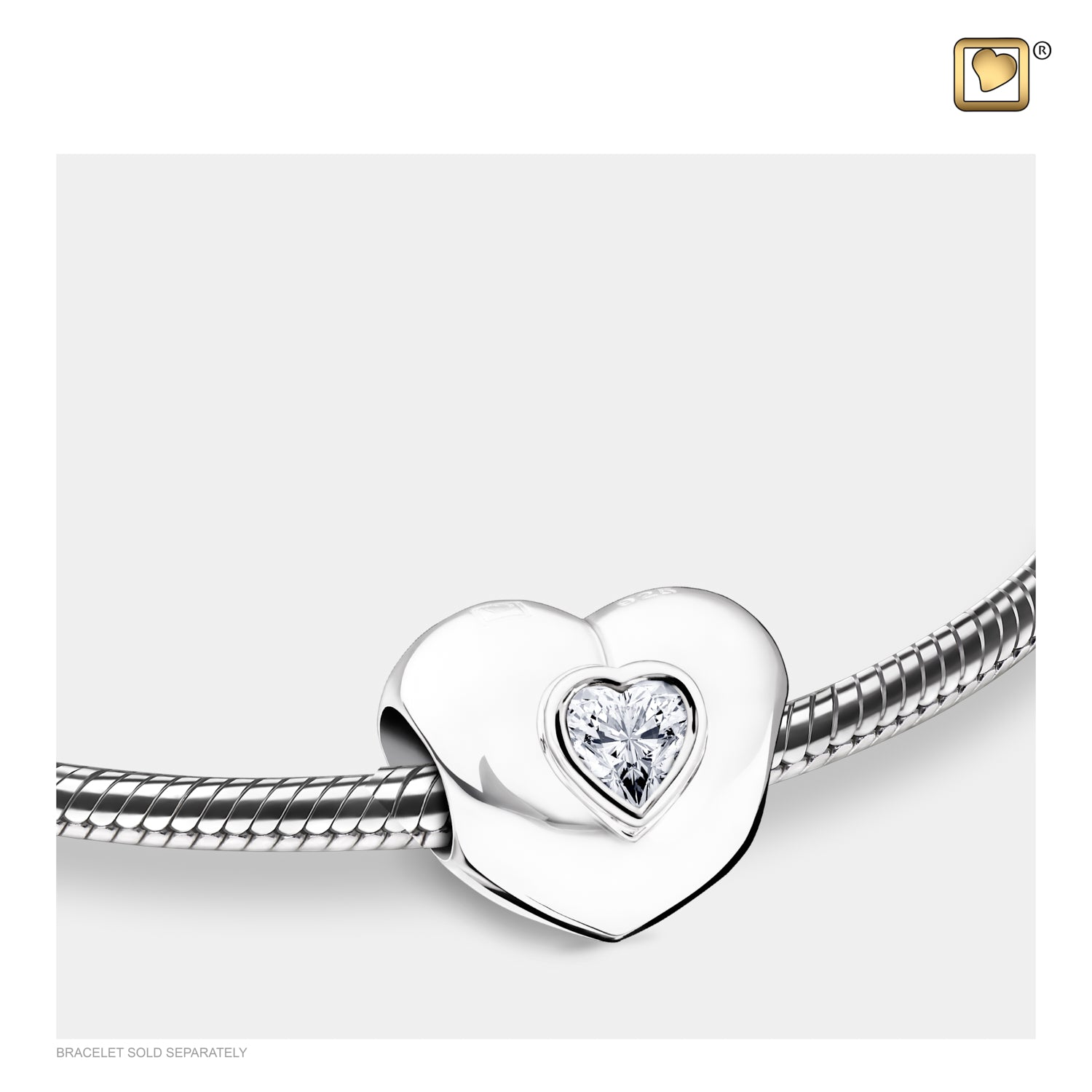 Bead Heart to Heart with Clear Crystal Cremation Jewelry
