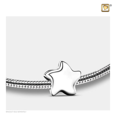 Sterling Silver Angelic Star Silver Polished Cremation Jewelry for ashes - Bead