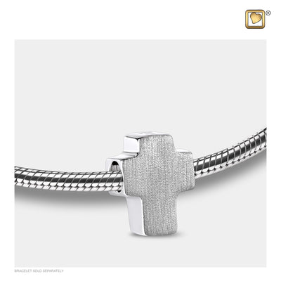 Sterling Silver Cross Silver Brushed-Polished Two Tone Cremation Jewelry for Ashes - Bead