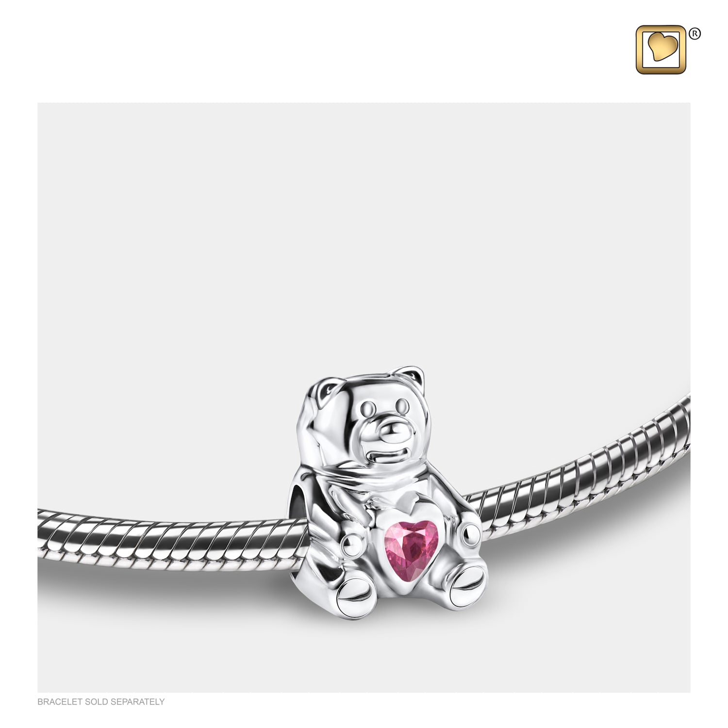 Sterling Silver Teddy Bear Silver Polished W/Pink Crystal Cremation Jewelry for Ashes - Bead