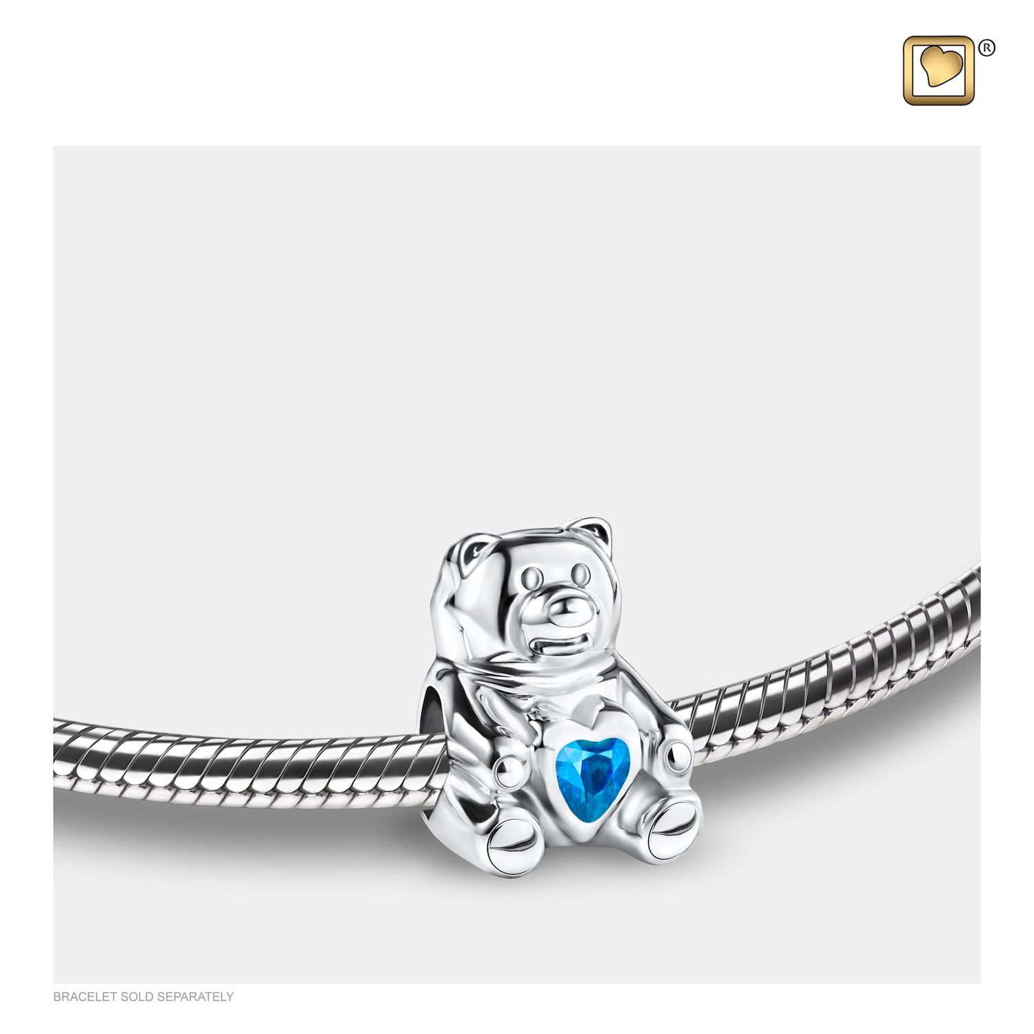 Sterling Silver Teddy Bear Silver Polished W/Blue Crystal Cremation Jewelry for Ashes - Bead