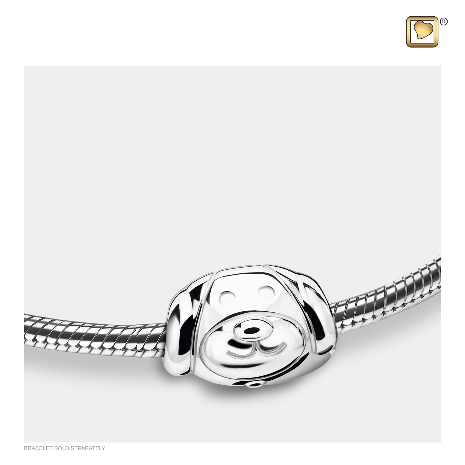 Bead Dog Rhodium Plated Cremation Jewelry