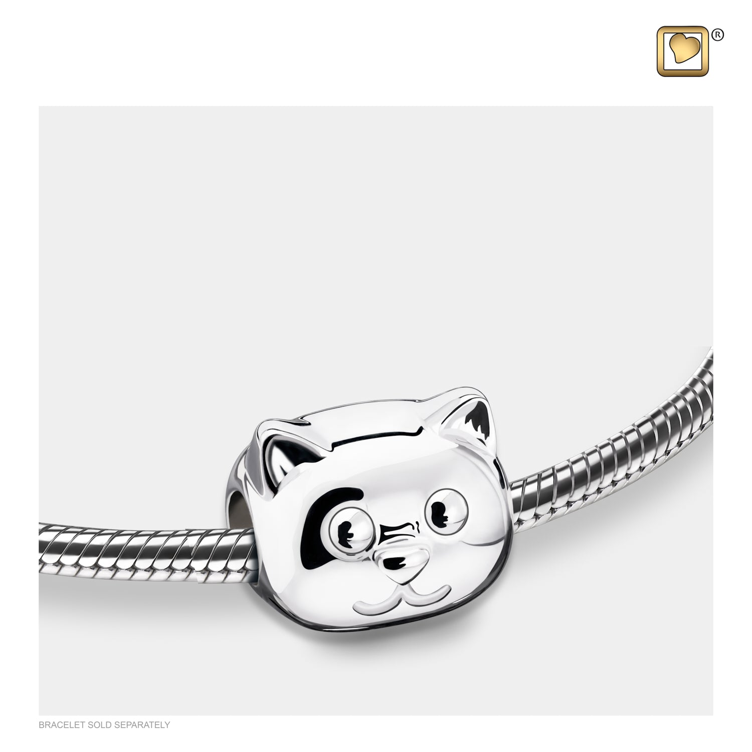 Bead Cat Rhodium Plated Cremation Jewelry