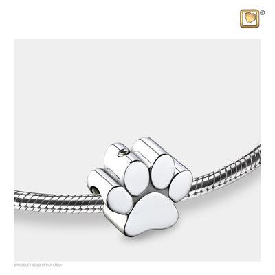 Bead Paw Rhodium Plated Cremation Jewelry