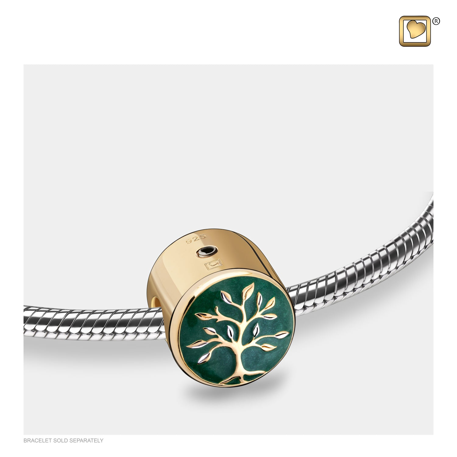 Bead Tree of Life Enamel Gold Vermeil Cremation Jewelry