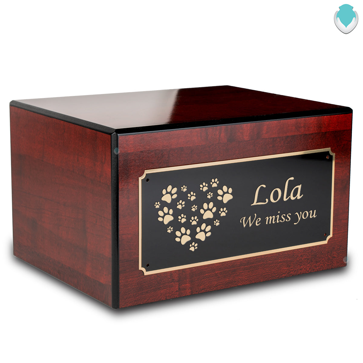 Society Cherry Heart Paws Pet Large Cremation Urn Box