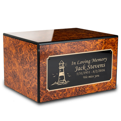 Custom Engraved Society Burl Adult Cremation Urn Memorial Box for Ashes