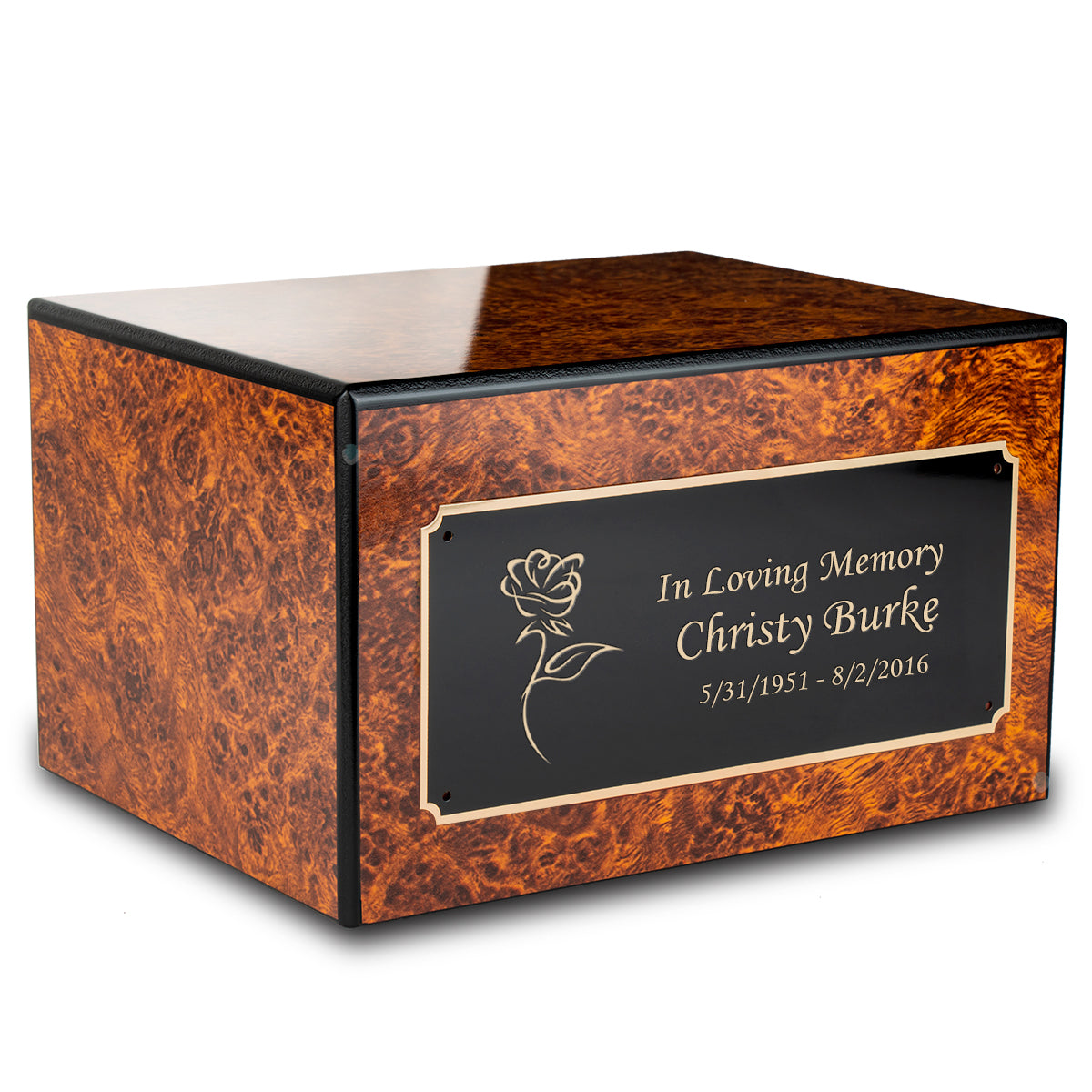 Custom Engraved Heritage Burl Adult Cremation Urn Memorial Box for Ashes