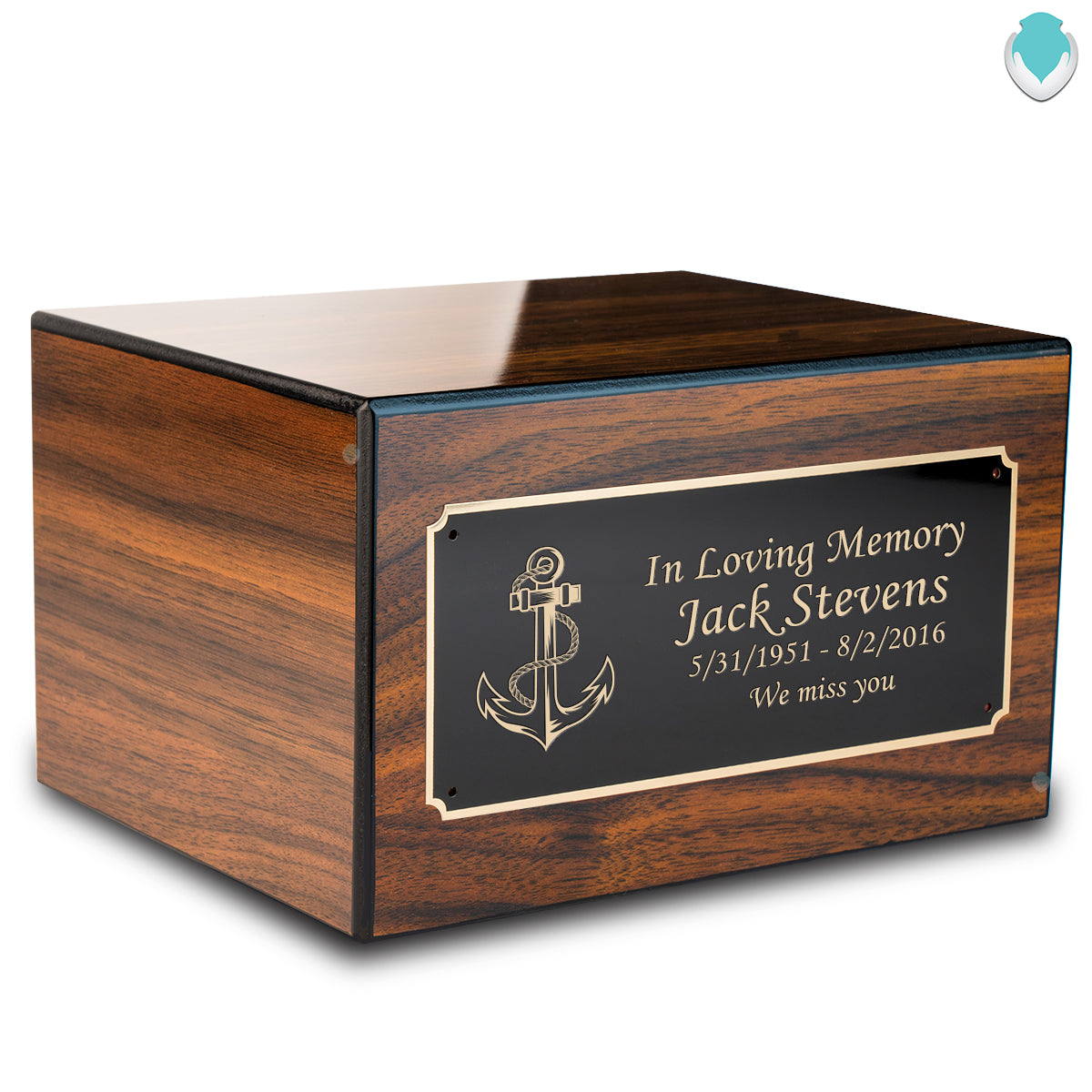 Custom Engraved Heritage Walnut Adult Cremation Urn Memorial Box for Ashes