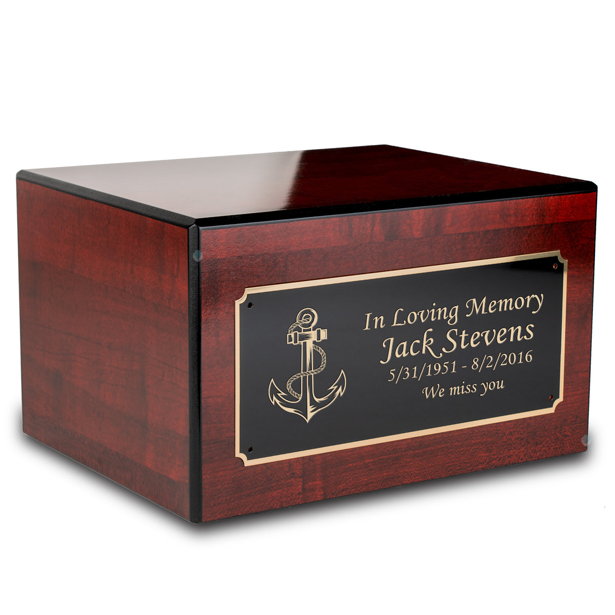 Custom Engraved Heritage Cherry Adult Cremation Urn Memorial Box for Ashes