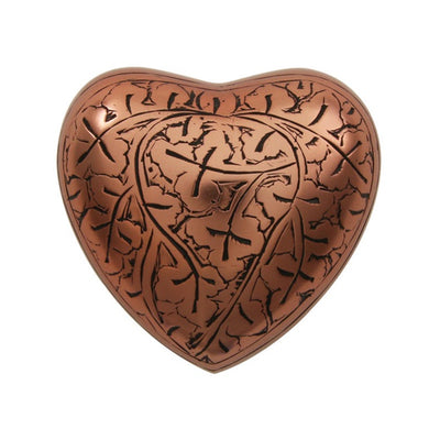 Classic Engraved Copper Oak Heart Keepsake w/ velvet box
